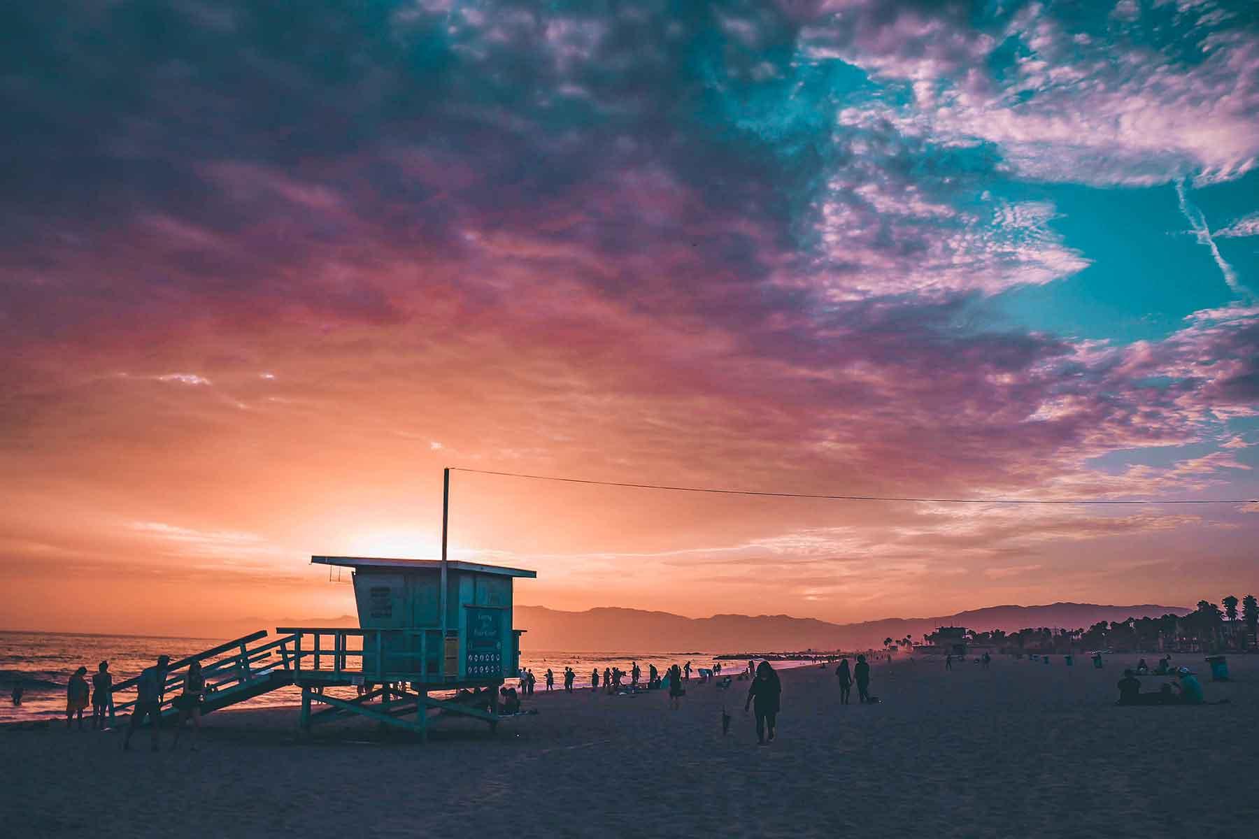 Resor-till-Kalifornien-med-Nygren-&-Lind-Resebyrå---venice-beach-solnedgång